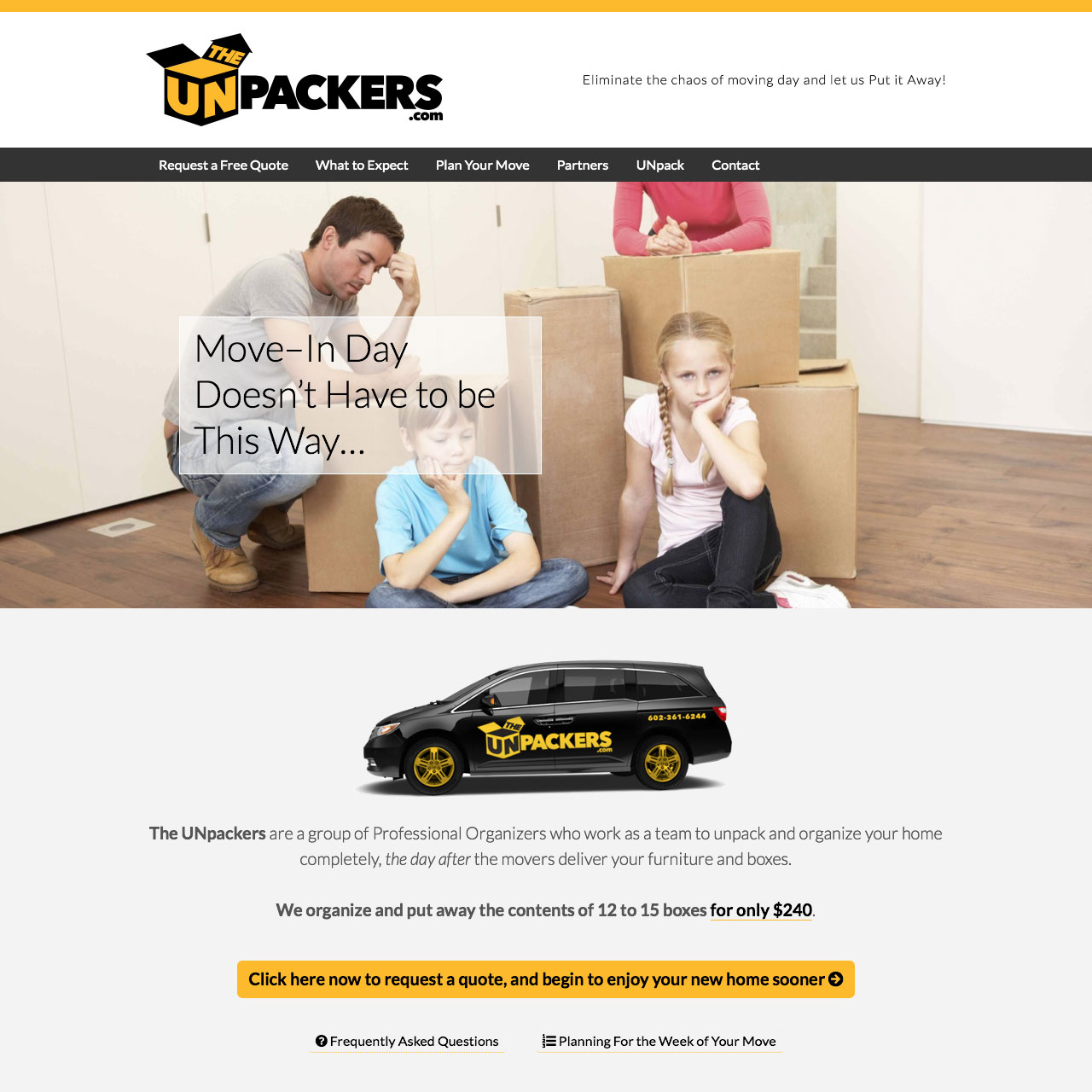 The UNpackers Homepage and Brand